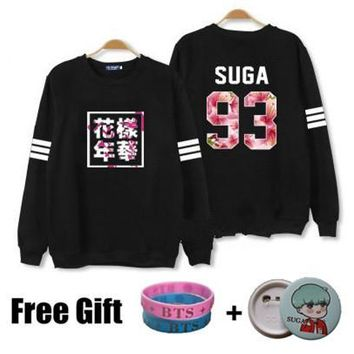 Kpop bts hoodies for men women bangtan boys album floral letter printed fans supportive o neck sweatshirt plus size tracksuits