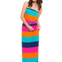 """A Multi Stripe"" Strapless Maxi Dress with Pockets"