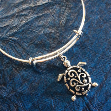 Turtle on a Silver Adjustable Bangle Charm Bracelet Fertility Charm Bangle Expandable Charm Bracelet