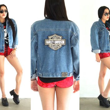 Vintage 90s HARLEY DAVIDSON Patched Medium Wash Denim Jacket // Biker Hipster Bohemian // XS Extra Small / Small / Medium