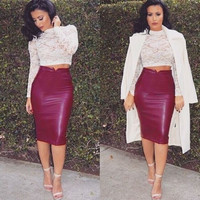 Women Spring Sexy Faux Leather High Waist Slit Bodycon Pencil Midi Skirt