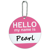 Pearl Hello My Name Is Round ID Card Luggage Tag