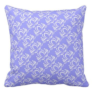 Lily Flower Light Blue & White Pillow