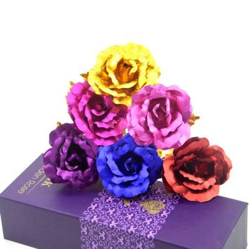 Foil Plated Rose Gold Rose Wedding Decoration Flower Valentine's Day Gift lover's Rose artificial flower Red Purple Blue