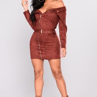 Belt It Out Suede Dress - Burgundy