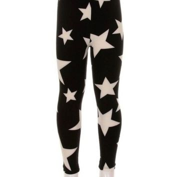 Girls Star Print Leggings, Multi