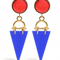 Red Button Earrings with a Gold Plated Brass Horseshoe Medallion and a Blue Perspex Triangle Pendant!