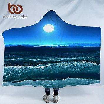 BeddingOutlet Hooded Blanket 3d Printed for Adults Sofa Moon Sky Sherpa Fleece Wearable Wrap Throw Blanket Microfiber 150x200cm