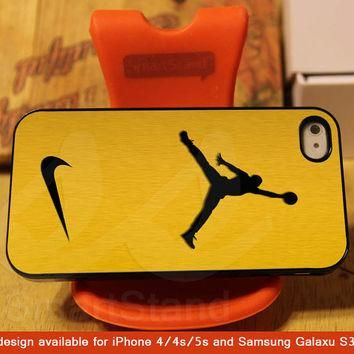 Nike Air Jordan Golden Gold Design for iPhone 4/4s/5/5s/5c, Samsung Galaxy S3/S4 Case