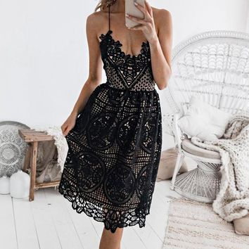 Fashion Women Sexy V Collar Lace Backless Sling Dress Black