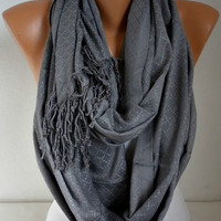 ON SALE - Gray Infinity Scarf  Circle Scarf  Loop  Scarf  with Fringe Gift -fatwoman Grey Scarf