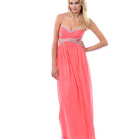 Coral Ruched Sweetheart Beaded Sequin & Rhinestone Strapless Long Dress 2015 Prom Dresses