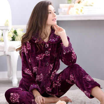 2016 New Arrival Spring&Autumn&Winter Christmas Pajamas For Women Pants Plus Size 4X Long Sleeve Coral Fleece Pajamas Set Ladies