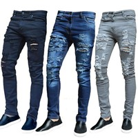 Men's Jeans Long Pants Washed Denim Ripped Stylish Hole Distressed