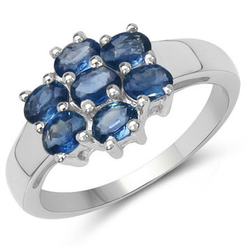 1.54 Carat Genuine Blue Sapphire .925 Sterling Silver Ring