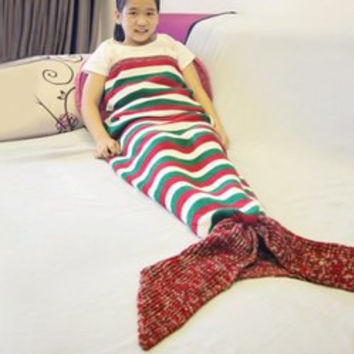 Color Block Stripe Design Mermaid Tail Style Blanket