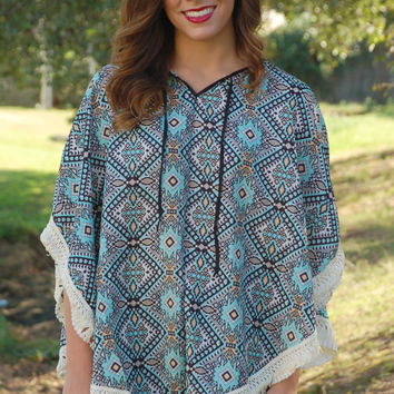 Sweet Southern Fall Poncho-Pale Blue