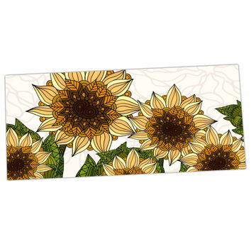 "Art Love Passion ""Sunflower Field"" Beige Yellow Desk Mat"