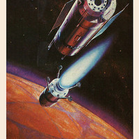Landing on Mars (Artist A. Sokolov) Vintage Postcard - Printed in the USSR, «The Fine Arts», Moscow, 1980