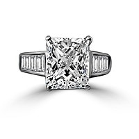 5 CT.(12x10mm) Intensely Radiant Cut Diamond Veneer Cubic Zirconia Sterling Silver Engagement Ring. 635R7817