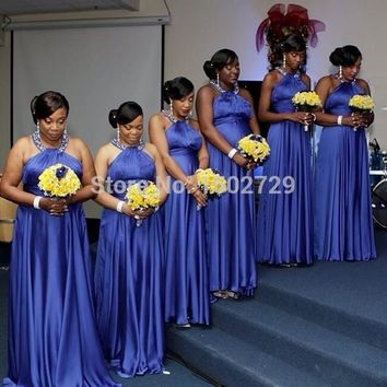 Royal Blue African Bridesmaid Dresses Plus Size 2017 Halter Backless Crystal Cheap Long Wedding Party Dress Bride Maid Gowns