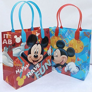 "*NEW STYLE* 12pcs Disney ""MICKEY MOUSE"" Small Plastic Goodie Gift Favor Treat Tote Bags with Handle"
