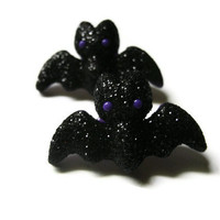 Halloween Bat Earrings. Glittered. Black and Purple. Gold Hypoallergenic Stud Posts.