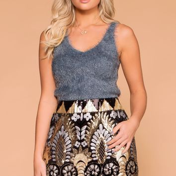 Nic Black Sequin Pattern Mini Skirt