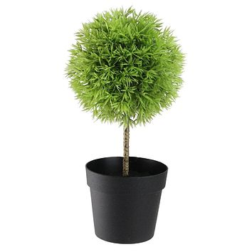 "9.75"" Potted Two-Tone Artificial Grass Ball Topiary Tree"