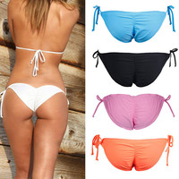 Hot New Lady Sexy Scrunch Brazilian Ruched Semi Thong Bikini Bottom Women Tie Side Swimwear Fashion Beach Bottom
