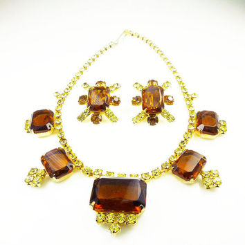 Vintage Rhinestone Necklace Earrings Yellow Amber Topaz Chunky Glass Jewelry Set