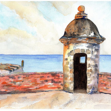 Puerto Rico, Sentry Box, 8x10, Original Watercolor, Castillo de San Cristóbal, Ocean View, Old San Juan, Fort, Lookout, Garita, Landscape
