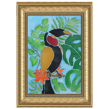 Toucan Bird Silk Painting-Birds art-Kids painting-painting on silk-Batik Art-Nursery-original-fabric-Odud-Painted silk-Wall hanging