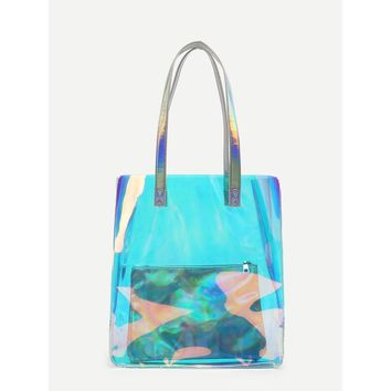 Iridescence Tote Bag With Inner Clutch