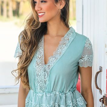 Mint V-Neck Top with Lace Details