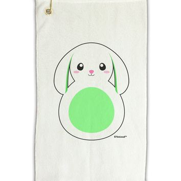 "Cute Bunny with Floppy Ears - Green Micro Terry Gromet Golf Towel 11""x19 by TooLoud"