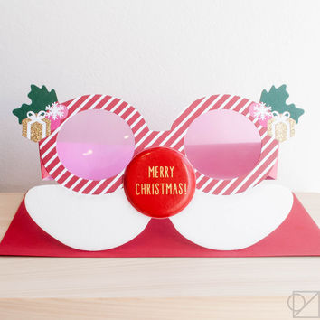 Holiday Party Glasses Greeting Card Red Nose