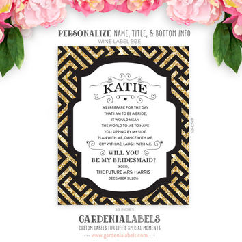 Will you be my Bridesmaid / Maid of Honor Label - Faux Glitter + Pattern - Custom Will You Be Bridesmaid Wine Labels - Ask Maid of Honor