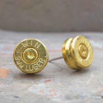 9mm Brass Bullet Stud Earrings