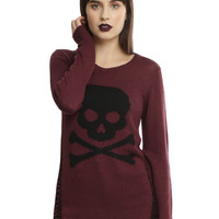 Burgundy & Black Skull Destructed Girls Sweater