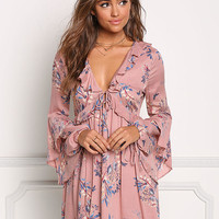 Mauve Floral Plunge Back Cut Out Dress