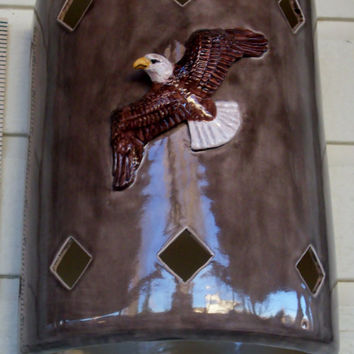 Exterior wall sconce with a 3D Eagle