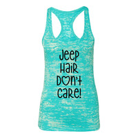 Jeep Hair Don't Care Burnout Racerback Tank Top - Women's Turquoise