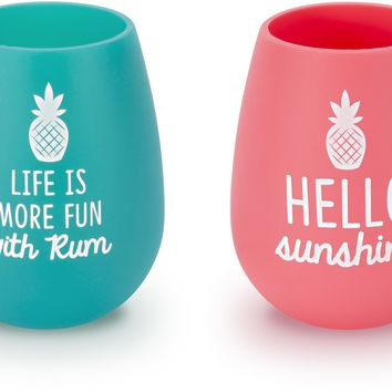 Rum & Sunshine Silicone Wine Glasses (Set of 2)