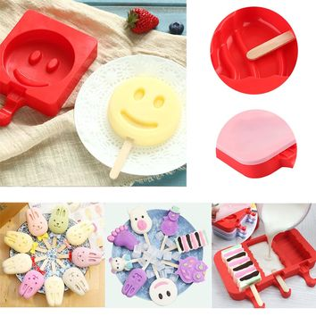 Chocolate Lolly Maker DIY Ice Cream Popsicle Mould Frozen Pan Ice Pop Mold Silicone Tray Smile Face Lolly Maker Summer Supply