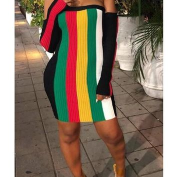 New Green Striped Rianbow Pattern Off Shoulder Backless Jamaica Bodycon Mini Dress