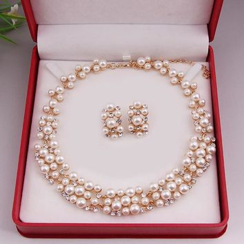 BE Pearl Gold Plated Simple Elegant Bridal necklace earring Jewelry Sets Kit Gift BP