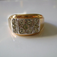 8KT 18 Karat HGE Yellow Gold Electroplate With Round Cut CZ Cubic Zirconia Stone Cluster Masculine Handsome Gentleman's Men Man Ring Size 15