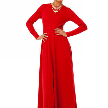 Red Maxi Dress Jersey, Long Sleeve Dress Casual ,Evening Long Dress