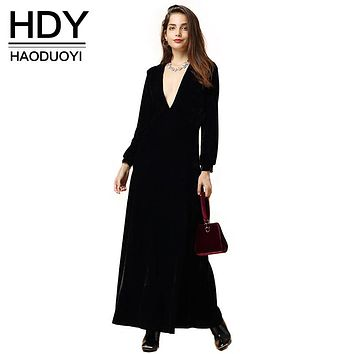54e19fcdc7d2d HDY Haoduoyi 2016 Autumn Fashion Women Black Velvet Long Sleeved